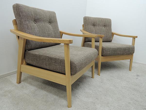 1Pソファ 1人掛け 椅子 シンプル ナチュラル 天然木フレーム 2脚セット