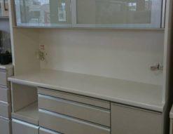 松田家具 レンジボード 食器棚 日本製 ホワイト 鏡面仕上げ