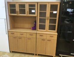 ユーアイ レンジボード レンジ台 食器棚 カップボード 収納 ナチュラル 格子ガラス カントリー