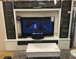 テレビボード リビングボード AVボード 宮付 百聞は一見にしかず シンプル モダン 白 黒 鏡面仕上げ