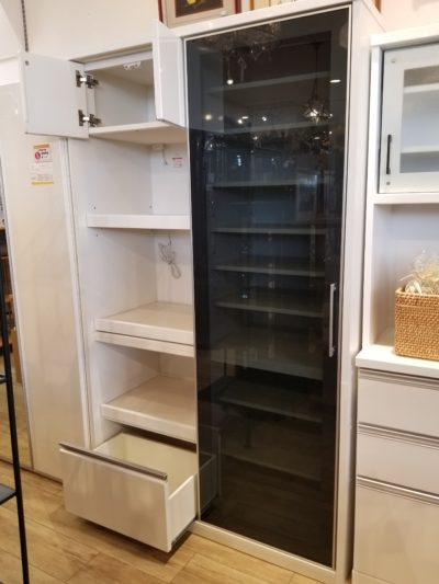松田家具 スライド扉 レンジボード キッチンボード 食器棚