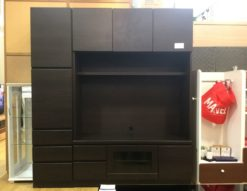 壁面収納 テレビボード買い取りました ブラック 大容量収納 ユニット式 42型対応 モダン シックデザイン 配線穴