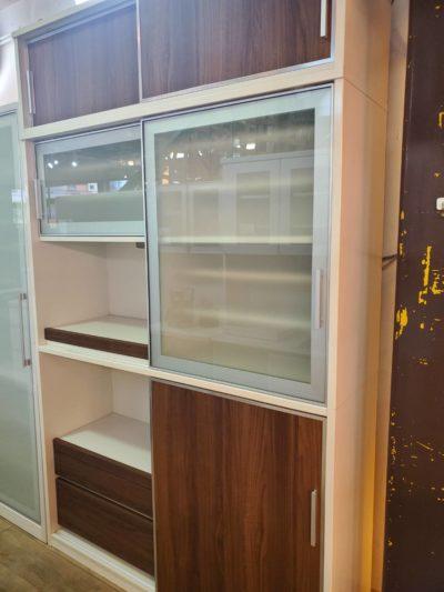 レンジボード キッチンボード ホワイト ブラウン 木目 ガラス すライド扉 収納力抜群 大容量 オシャレ