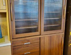 レンジボード 食器棚 レトロ すりガラス キッチンボード 収納 隠せる