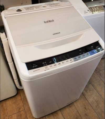 HITACHI 日立 BEAT WASH ビートウォッシュ 8.0㎏ 洗濯機 2017年製 ガラストップ 8㎏