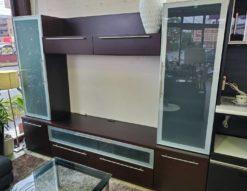 宮付きテレビボード リビングボード 壁面収納 収納力抜群 飾り棚 ガラス扉 モダン ダークブラウン
