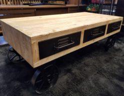 古材 アイアン センターテーブル キャスター付き 車輪