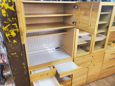 UNICO ウニコ HUTTE ヒュッテシリーズ キッチン収納 壁面収納 食器収納 家電収納 レンジ台 カフェ風 ナチュラル系 シンプル 無垢材 木目