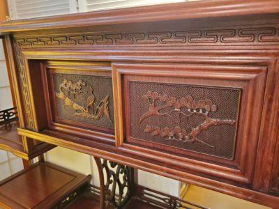 茶たんす 和棚家具 和調家具 リビングボード おしゃれ 彫り物 飾り彫り 木製 和風 和モダン 和風スタイル 茶の間