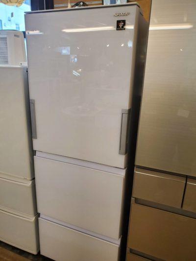 SHARP シャープ 356L 3ドア 冷蔵庫 2018年製 プラズマクラスター ガラスドア どっちもドア ピュアホワイト 美品