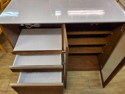 Craft Koga クラフト コガ レンジ台 キッチンボード レンジボード ウォールナット お洒落 白鏡面 メラミン化粧板