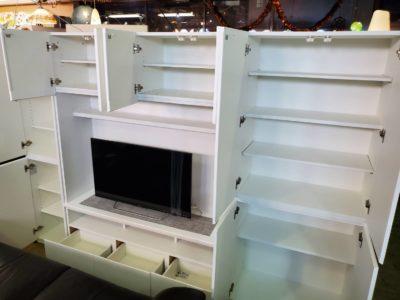テレビボードセット キャビネットセット 壁面 リビングの収納 これひとつ 大容量 大きいテレビボード テレビ台 TVボード TV台 横に収納 ホワイトカラー