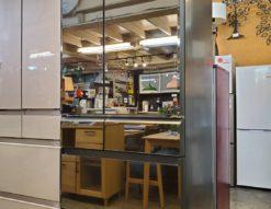 Panasonic パナソニック 601L 6ドア 冷蔵庫 2017年製 高年式 大容量 大型 冷凍冷蔵庫 フレンチドア 微凍結パーシャル ガラストップ ブラック ミラー 鏡面扉 モダン スタイリッシュ