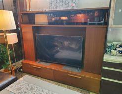 Meuble モーブル リビングボード テレビボード 壁面収納 ウォールナット 黒ガラス 照明付 収納力 大型 55型テレビ