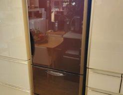 HITACHI 日立 375L 3ドア 冷蔵庫 2018年製 クリスタルブラウン ガラストップ 真空チルド 自動製氷 右開き 高年式 ブラウン オシャレ かっこいい 真ん中野菜室